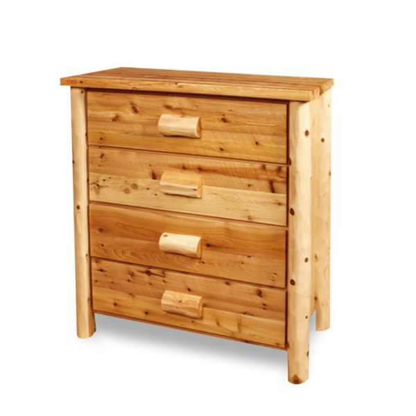 4 Drawer Chest Hand Hewn with Clear Finish