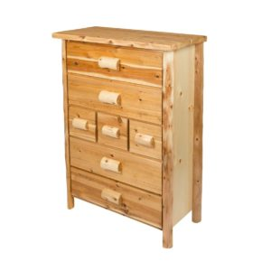 7 Drawer Chest Hand Hewn with Clear Finish
