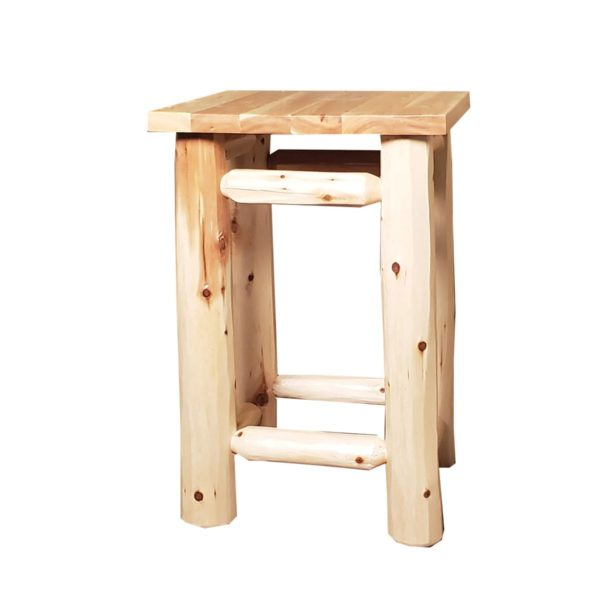 Clear Creek Log Nightstand Hand Hewn with Clear Finish