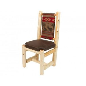 High Back Upholstered Dining Chair with Clear Finish