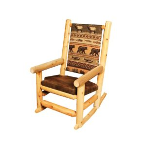 Indoor Upholstered Rocking Chair with Clear Finish