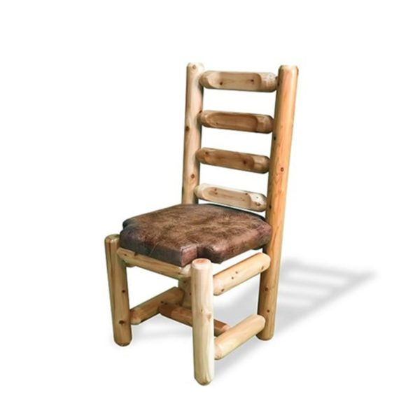 Ladder Back Dining Chair Upholstered Seat with Clear Finish