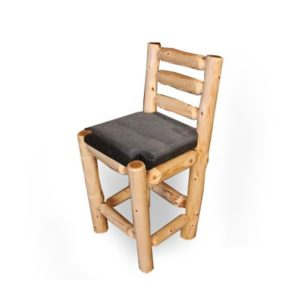 Ladder Back Bar Chair Upholstered Seat with Clear Finish