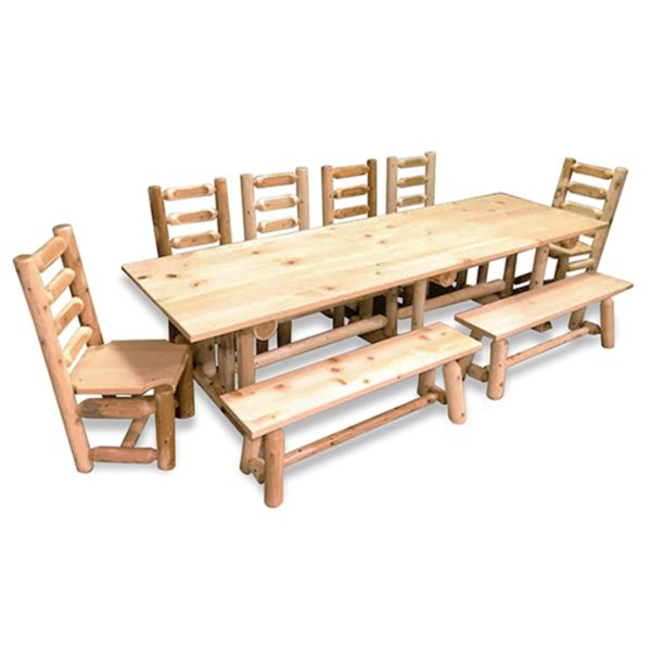 Farmhouse Dining Table with Clear Finish