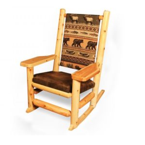 Paddle Arm Upholstered Rocking Chair with Clear Finish