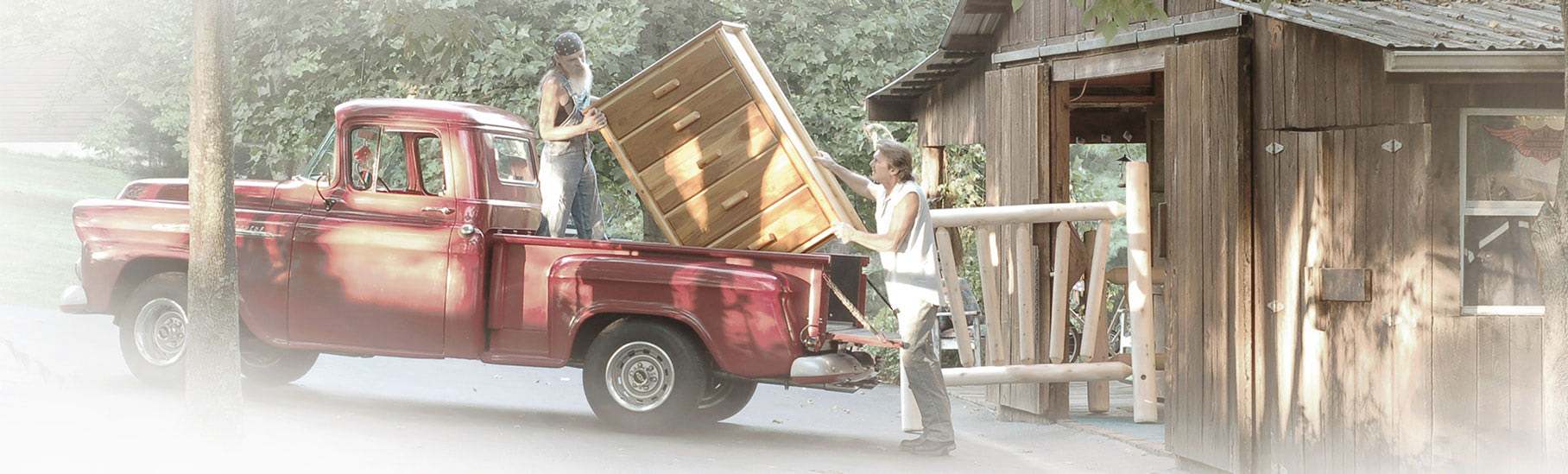 loading a vintage red truck