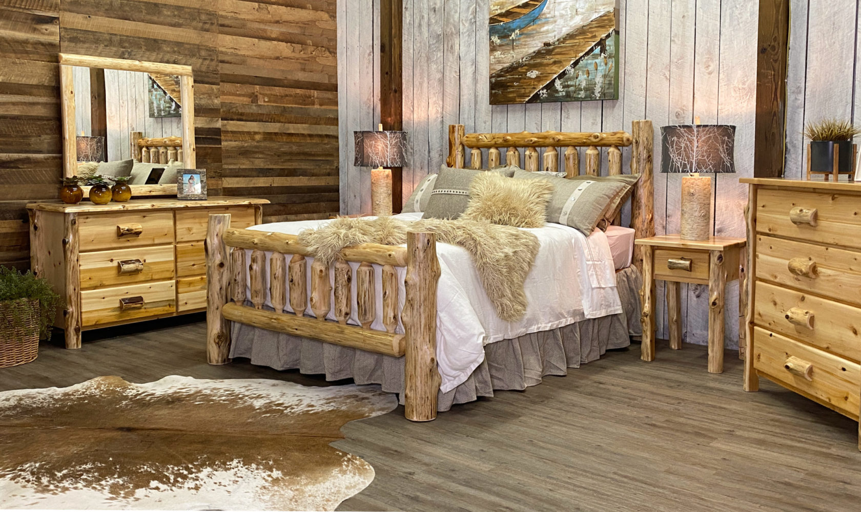 a beautiful, rustic room comprised of a variety of log furniture